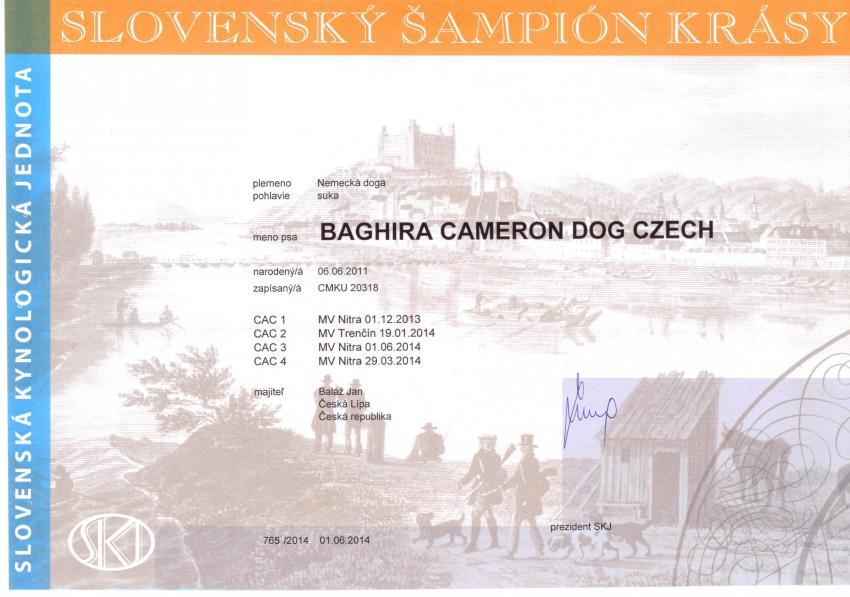Baghira Slovenský šampión krásy