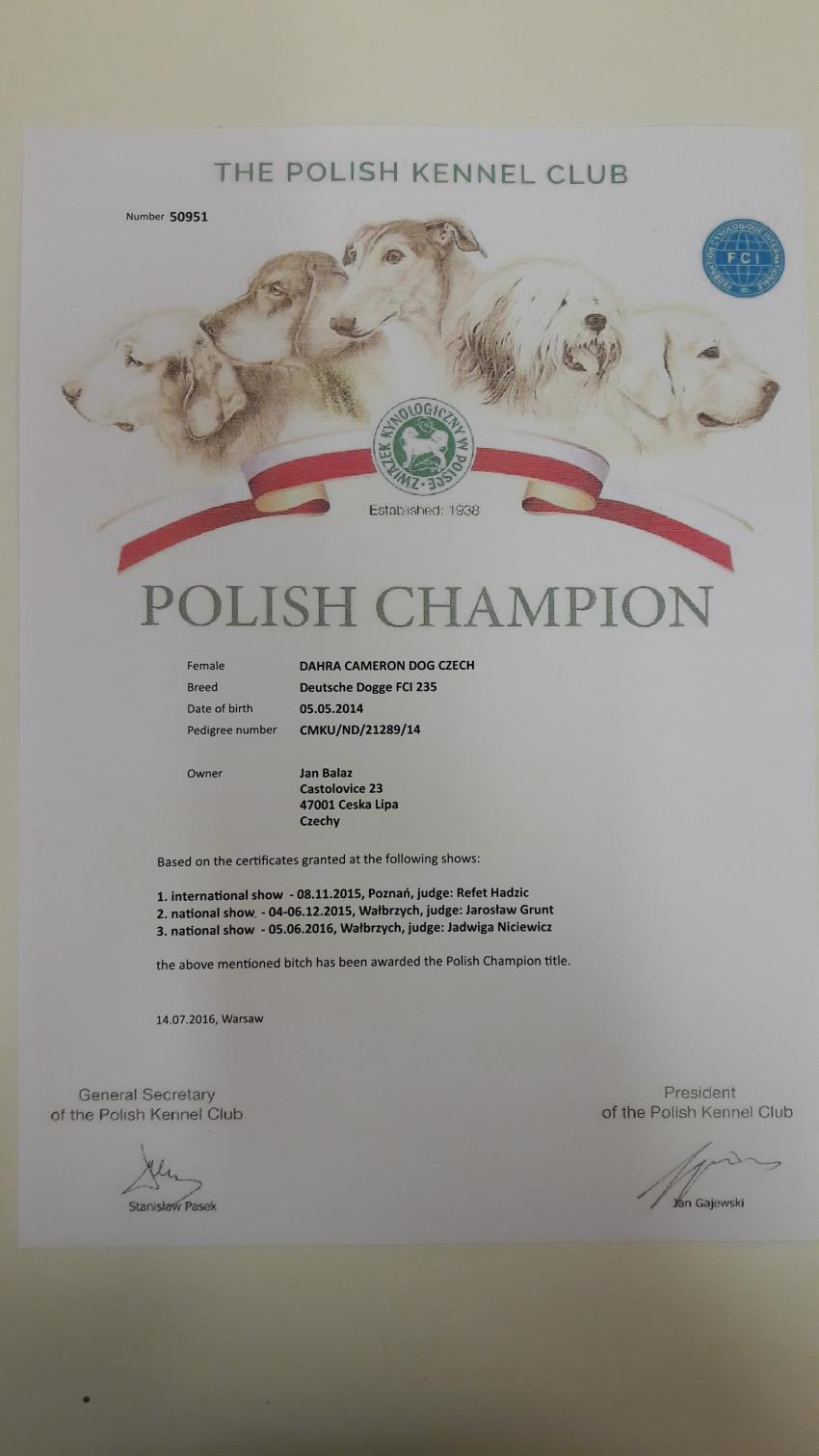 Dahra DyDy a  nový Šampion Polska